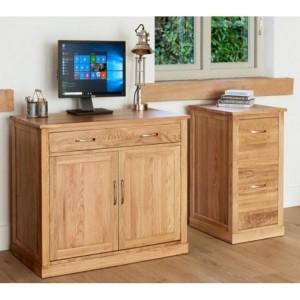 Mobel Oak Hidden Home Office Computer Desk & Small Filing Cabinet