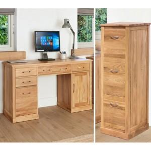 Mobel Oak Twin Pedestal Desk & Large Filing Cabinet
