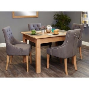 Mobel Oak Furniture Four Seater Dining Table & Upholstered Chair Set