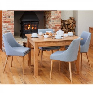 Mobel Oak Furniture Four Seater Dining Table & Grey Fabric Chair Set