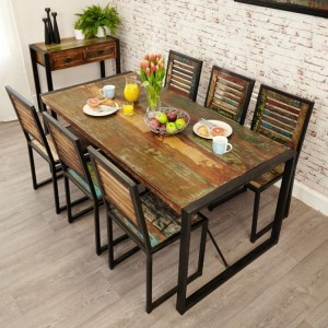 New Urban Chic Furniture 180cm Dining Table & Six Dining Chair Set