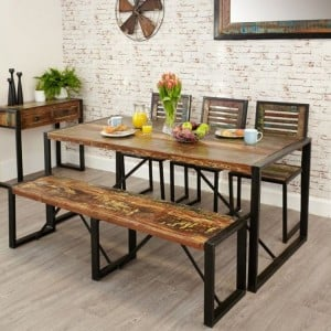 New Urban Chic Furniture 180cm Dining Table & Four Dining Chair Set with Large Dining Bench