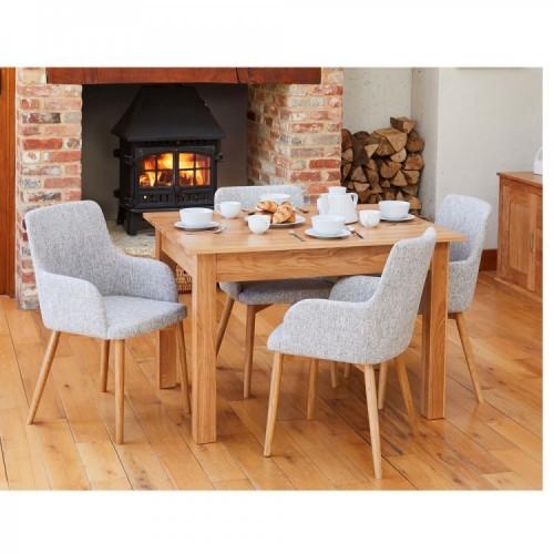 Mobel Oak Furniture Four Seater Dining Table & Light Grey Chair Set