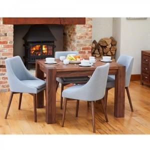 Shiro Walnut Furniture 4 Seater Dining Table & Grey Chair Set