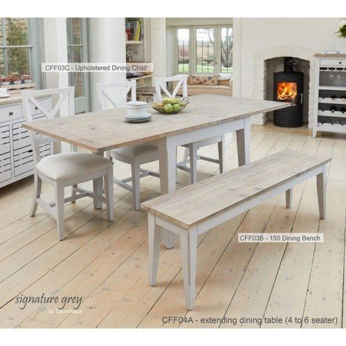 Signature Grey Furniture Square Extending Dining Table Bench & Chair Set