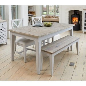 Signature Grey Furniture Extending Dining Table Bench & Chair Set