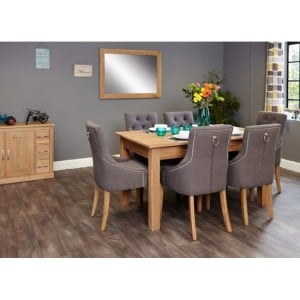 Mobel Oak Furniture Six Seater Dining Table & Upholstered Chair Set