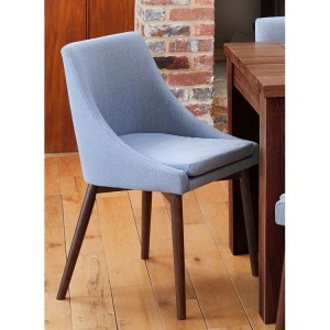 Mayan Walnut Furniture Grey Elegant Upholstered Pair of Chairs