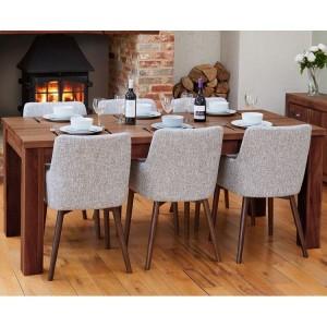 Mayan Walnut Furniture 150cm Dining Table & Six Light Grey Dining Chair Set