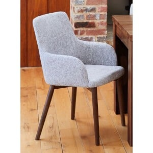 Mayan Walnut Furniture Light Grey Upholstered Pair of Armchairs