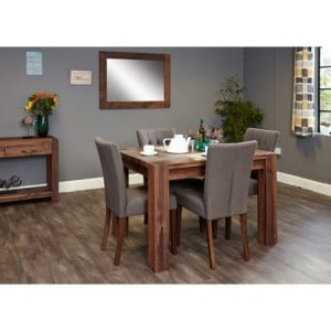 Mayan Walnut Furniture 4 Seater Dining Table With Grey Chair Set