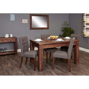 Mayan Walnut Furniture Extending Dining Table & Grey Chair Set