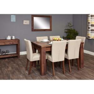 Mayan Walnut Furniture Extending Dining Table & Cream Chair Set