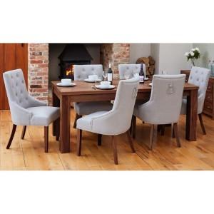 Mayan Walnut Furniture 150cm Dining Table & Six Narrow Back Dining Chair Set