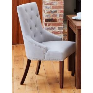 Mayan Walnut Furniture Grey Narrow Back Upholstered Pair of Chairs