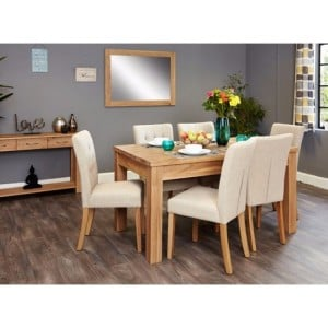 Mobel Oak Furniture Extending Eight Seater Dining Table & Cream Set