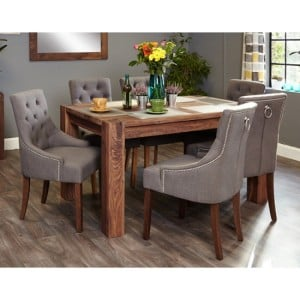 Mayan Walnut Furniture 6 Seater Dining Table & Upholstered Chair Set