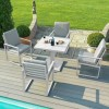 Maze Rattan Garden Furniture Amalfi White 4 Seat Square Dining Set with Rising Table