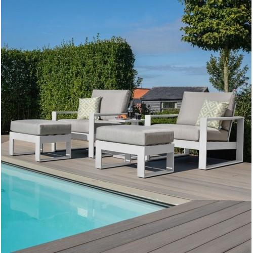 Maze Lounge Outdoor Fabric White Aluminium Frames Amalfi 5 Piece Lounge Set