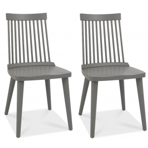 Bentley Designs Dansk Oak Ilva Spindle Dark Grey Dining Chair (Pair)