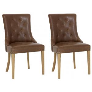 Bentley Designs Westbury Rustic Oak Upholstered Armchair Tan Pair