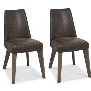 Cadell Oak Furniture Brown Distressed Leather Dining Chair Pair