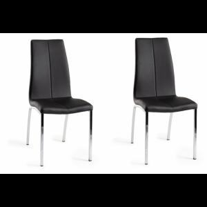 Bentley Designs Benton Furniture Black Faux Leather Chair Pair