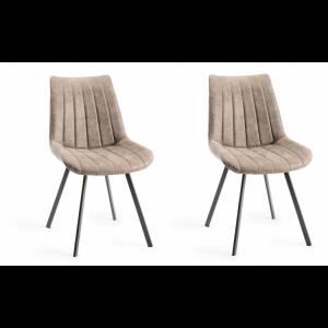 Bentley Designs Fontana Furniture Tan Faux Suede Fabric ChairsPair