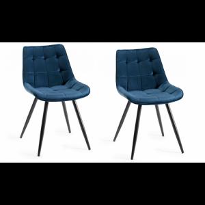 Bentley Designs Seurat Furniture Blue Velvet Fabric Chairs Pair