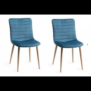 Bentley Designs Eriksen Furniture Petrol Blue Velvet Fabric Chairs Pair