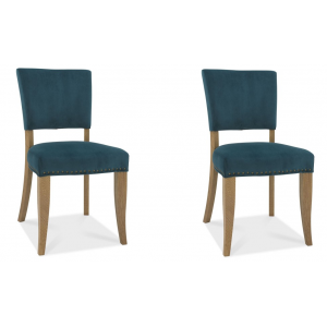 Bentley Designs Indus Oak Furniture Upholstered Green Velvet Chair (Pair)