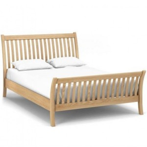 Corndell Nimbus Satin Oak Furniture Curved 4ft6 Double Bed