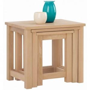 Corndell Nimbus Satin Oak Furniture Nest of Tables