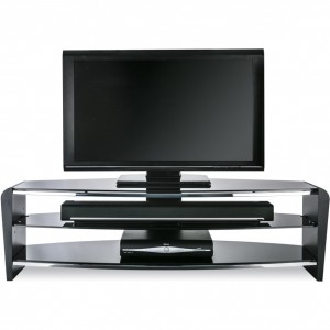 Alphason Furniture Francium Black Glass Top TV Stand
