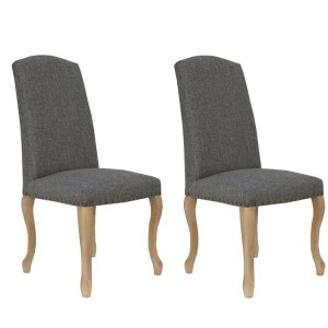 Livorno Collection Dark Grey Carved Leg Luxury Dining Chair with Studs (Pair)