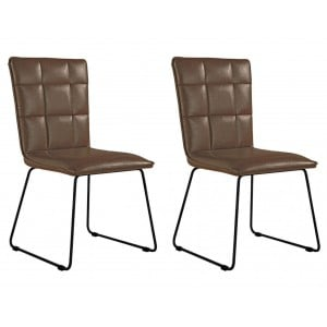 Metro Industrial Brown Panel Back Chair with Angular Legs (Pair)