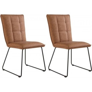 Metro Industrial Furniture Pair Of Panel Back Chair With Angled Legs