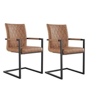 Metro Industrial Furniture Tan Diamond Quilted Carver Chair (Pair)