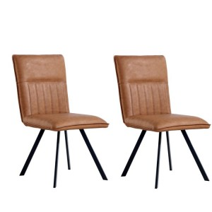 Metro Industrial Furniture Tan Leather Dining Chair (Pair)