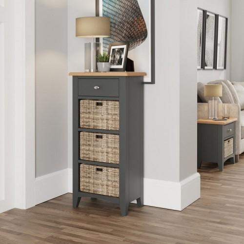 Galaxy Grey Painted Furniture 1 Drawer 3 Basket Cabinet