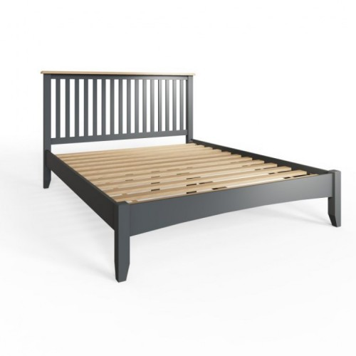 Galaxy Grey Painted Furniture Oak 4'6 Double Bed Frame