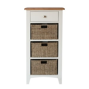 Galaxy White Painted Furniture 1 Drawer 3 Basket Storage Unit