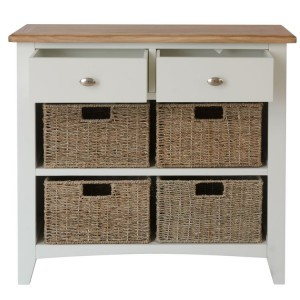Galaxy White Painted Furniture 2 Drawer 4 Basket Storage Unit