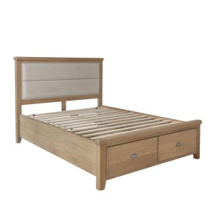 Heritage Smoked Oak Furniture 4ft6 Double Bed with Low End Footboard
