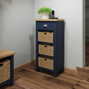 Wittenham Painted Furniture Blue Painted 1 Drawer 3 Basket Cabinet
