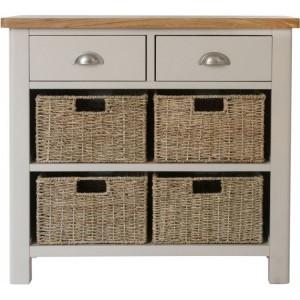 Wittenham Painted Furniture Grey 2 Drawer 4 Basket Cabinet