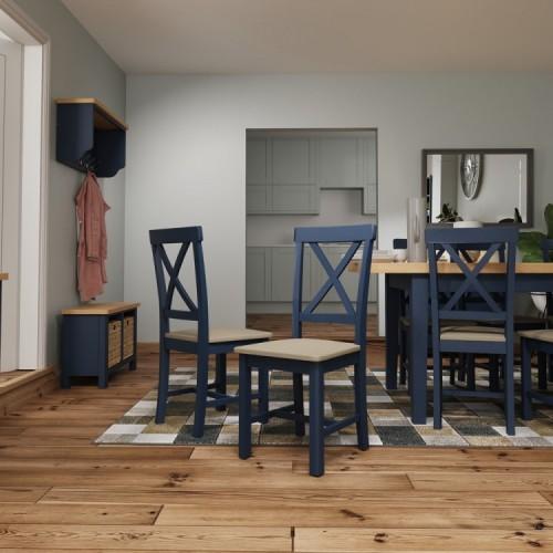 Wittenham Blue Painted Furniture Cross Back Dining Chair