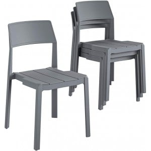Novogratz Furniture Chandler Charcoal Grey Indoor/Outdoor Poolside Collection 4 Pack Stacking Dining Chairs