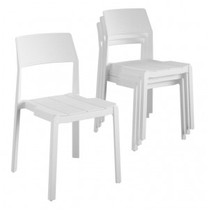 Novogratz Furniture Chandler White Indoor/Outdoor Poolside Collection 4 Pack Stacking Dining Chairs