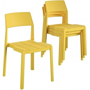 Novogratz Furniture Chandler Yellow Indoor/Outdoor Poolside Collection 4 Pack Stacking Dining Chairs